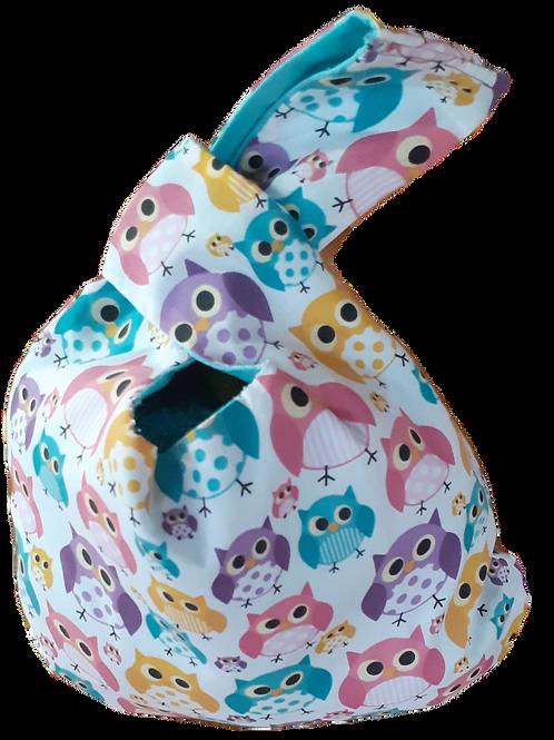 Knot Bag - Owls and aqua linen