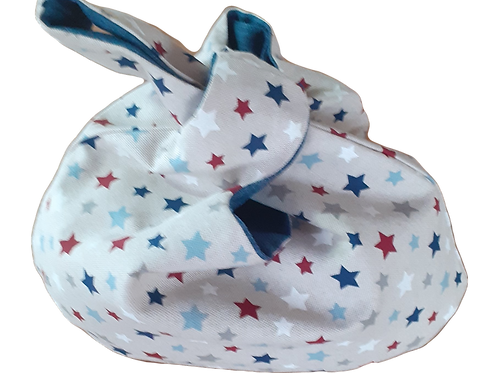 Knot Bag - Stars and Blue linen