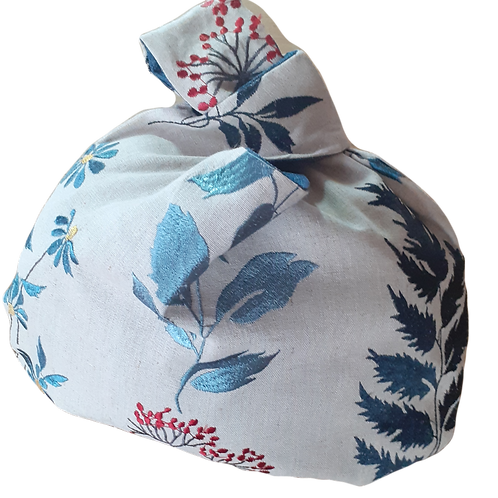 Knot Bag - Embroidered flowers and blue linen