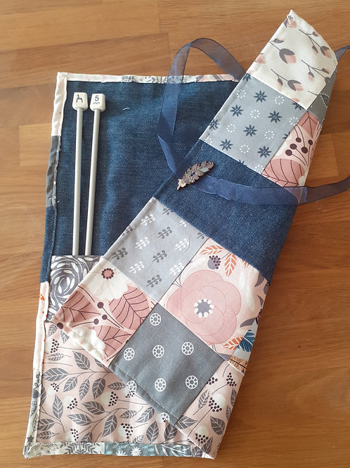 Patchwork Knitting Needle Roll - Dusky Pink 02