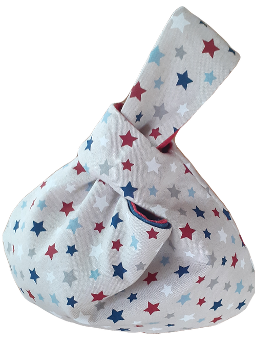 Knot Bag - Stars and Red linen