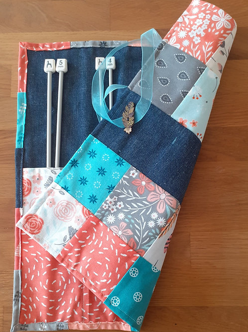 Patchwork Knitting Needle Roll - Coral/Aqua 01