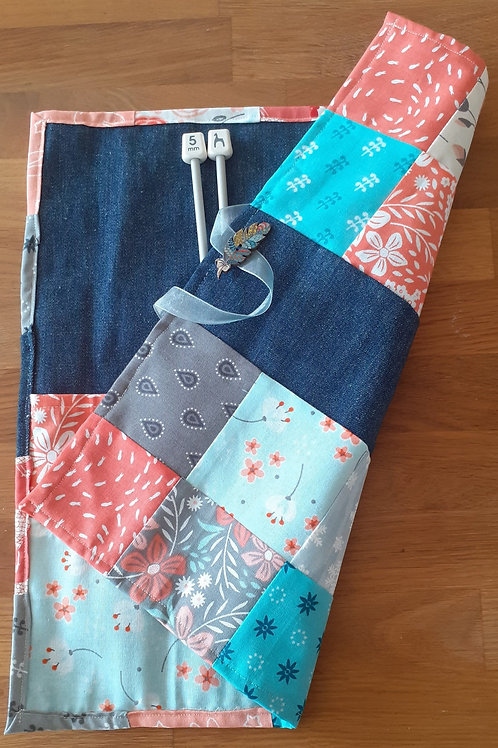 Patchwork Knitting Needle Roll - Coral/Aqua 02