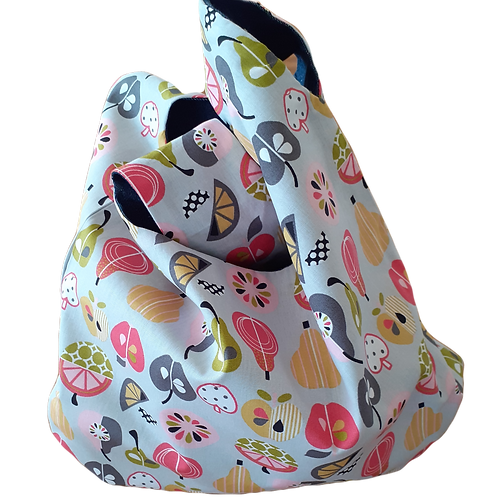 Knot Bag - Pears and pink linen