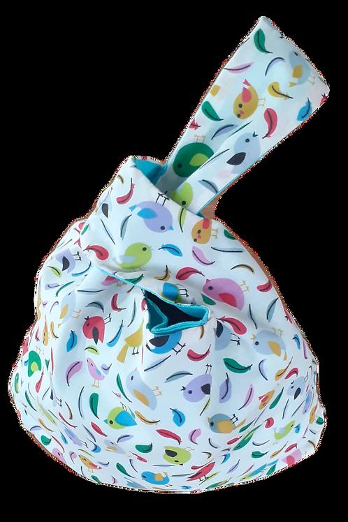 Knot Bag - Birds and aqua linen