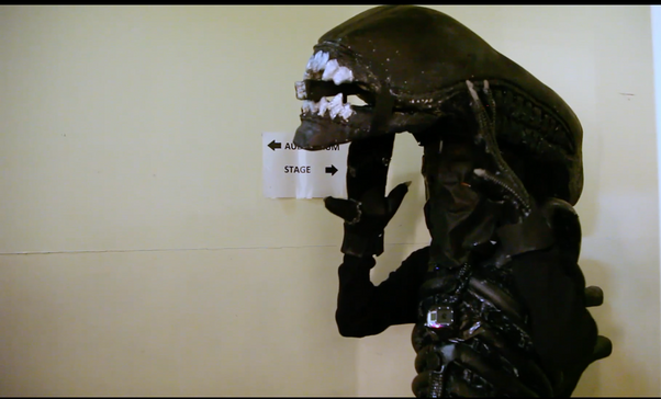 Xenomorph waits backstage at The Leicester Square Theatre, London