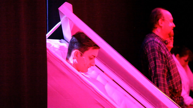 Scott prepares himself before the curtains open to a packed out audience at The Leicester Square Theatre