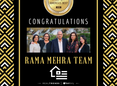 The Rama Mehra Team Named Again as One of America's Most Productive Sales Team in 2020!