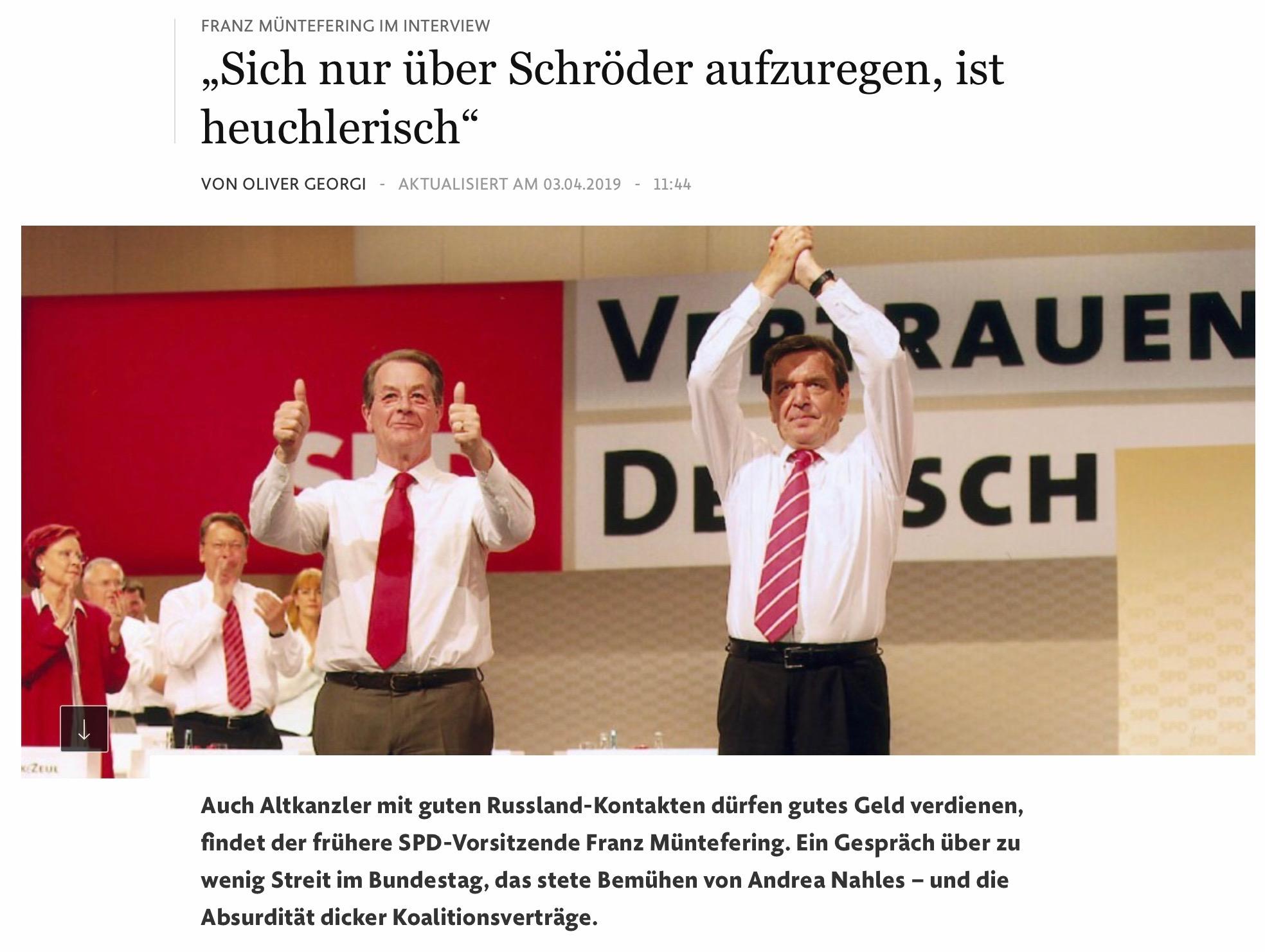 Franz Müntefering über Schröder
