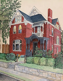 Pen and ink drawing of house