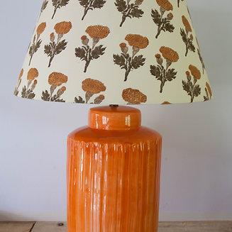 Lamp Base Orange Ceramic