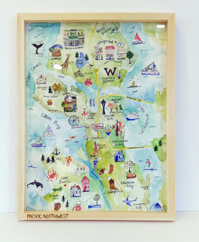 Watercolor Map of Seattle