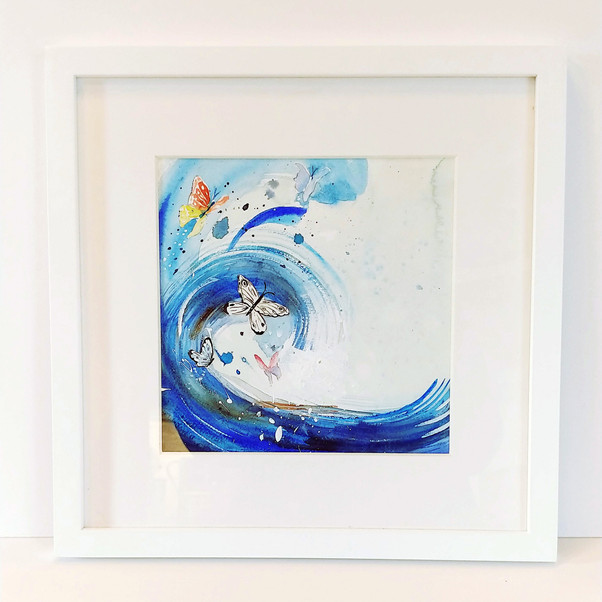 """""""Surfing Butterflies"""" watercolor painting"""