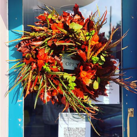 Autumn coffee shop door wreath