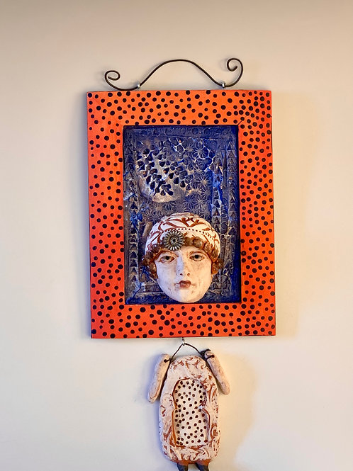 Lady with Hat in Orange and Blue