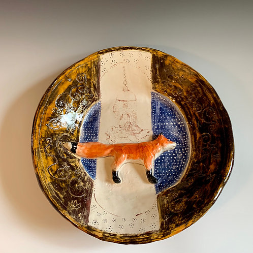 Large Platter with Fox