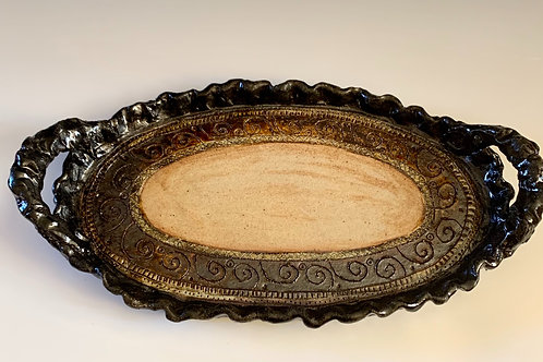 Large platter with temoku glaze