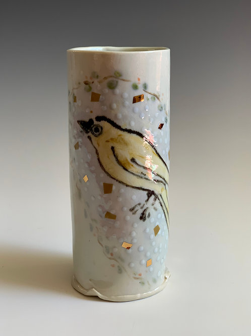 Porcelain Yellow bird vase/cup
