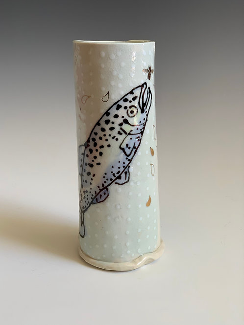 Porcelain fish vase/cup with gold luster