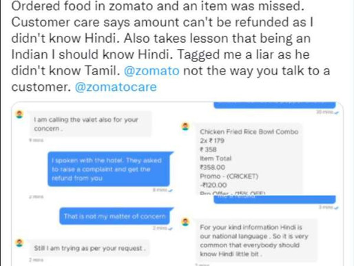 Zomato lands in row after customer care agent says Hindi is our national language, apologized later