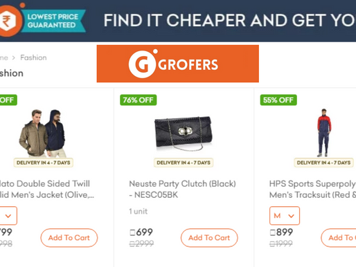 Grofers quietly started fashion category with Watches,Footwear,Clothing & Bags/Accessories