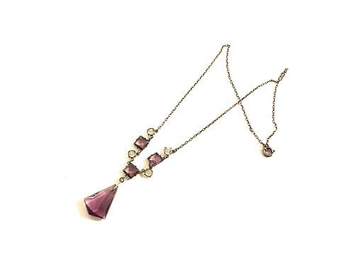 Amethyst Glass and Diamanté Art Deco Necklace