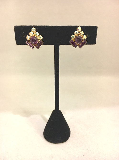 Charming 1950s Purple and Rhinestone Clip On Cocktail Earrings