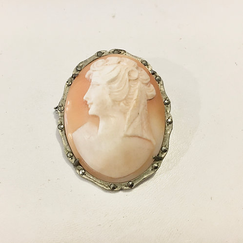 Early 20th Century Shell Cameo Brooch Pendant