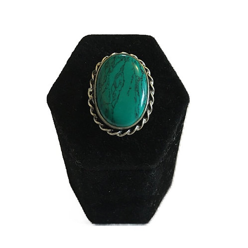 Large Faux Turquoise Silver Ring