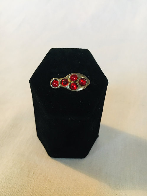 Abstract Metal Ring with Red Stones