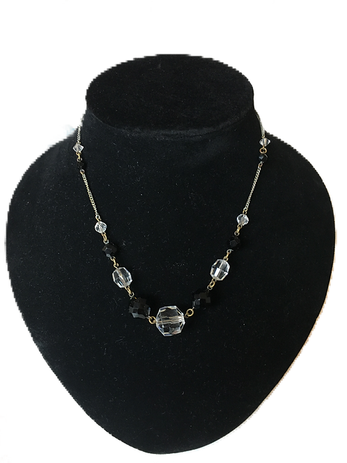 Delightfully Deco Style Black and Clear Crystal Bead Chain Necklace