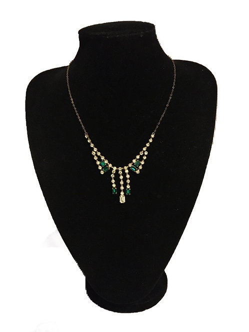 1930s - 1940s Clear and Green Diamanté Necklace on Chain