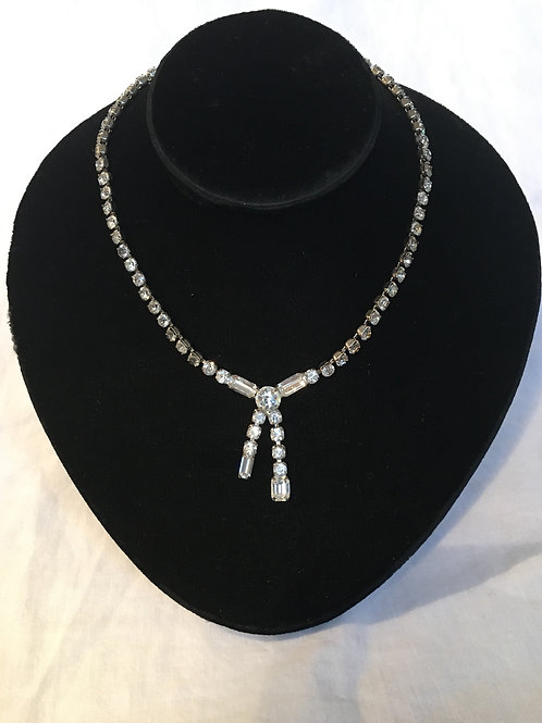 Coro Vintage Diamante Crossover Necklace
