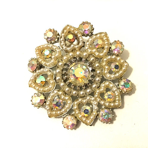 Pretty and Bright Faux Pearl & AB Crystal Floral Brooch