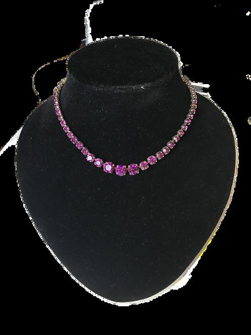 Purple Faux Amethyst Rivière Style Necklace