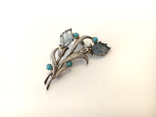 Elegant Metal Floral Brooch with Blue Glass Leaves and Inset Turquoise Beads