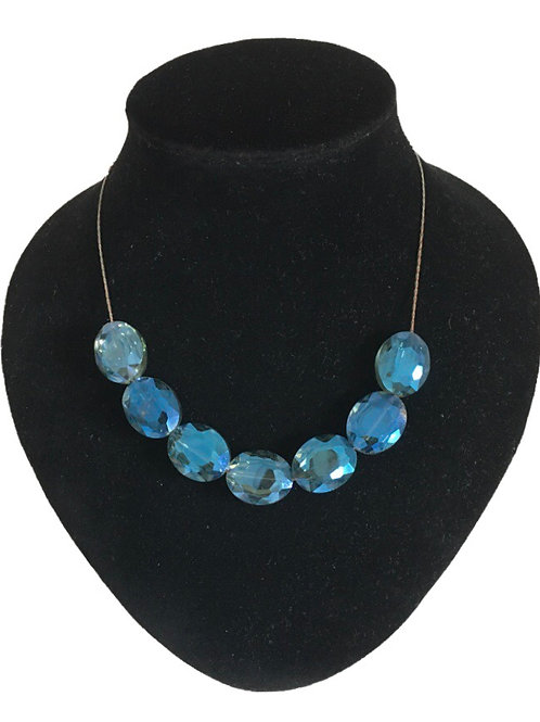 Unusual Modern Iridescent Blue Glass Stone Necklace