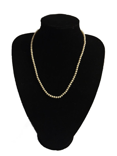 Delicate Tiny Faux Pearl Necklace with Diamanté Clasp