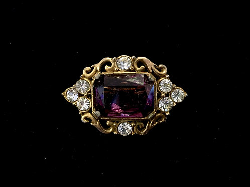 Victorian Style Diamanté and Amethyst Glass Brooch