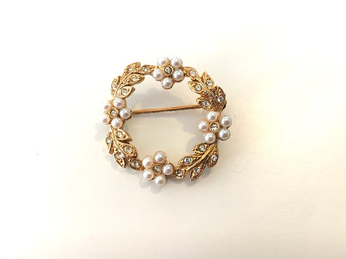Dainty Gilt Metal, Faux Pearl and Paste Garland Brooch