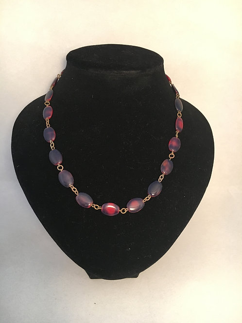 Unusual Early Plastic Bead Chain Link Necklace
