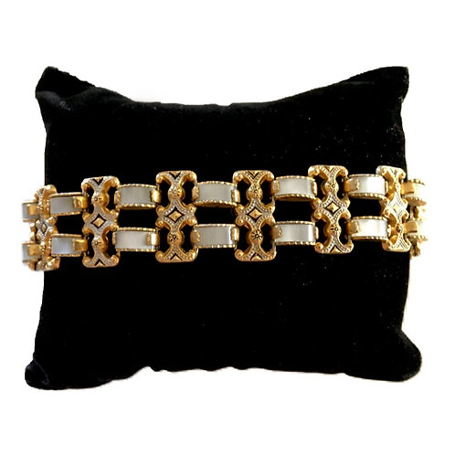1940s - 50s Ornate Gilt Metal Link Bracelet with Mother of Pearl Effect Panels