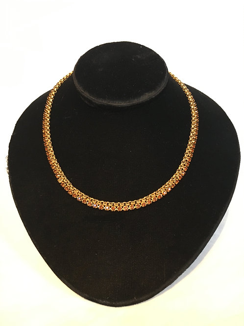 Unusual Gilt Metal Rope Necklace with Dark Topaz Style Stones