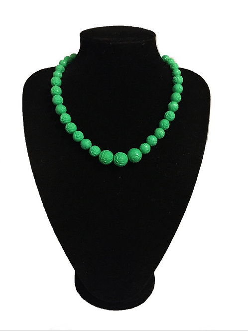 Bright Green Carved Plastic Bead Necklace