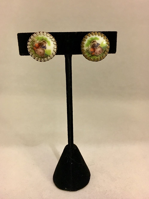 Unusual Printed Scene French Style Clip On Earrings