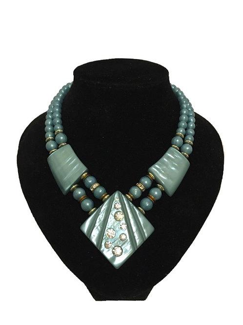 Beautiful Blue Mid-Century Statement Necklace