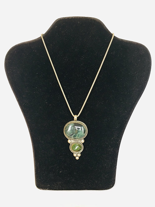 South American Style Metal Pendant with Double Large Dark Green Mineral Stone