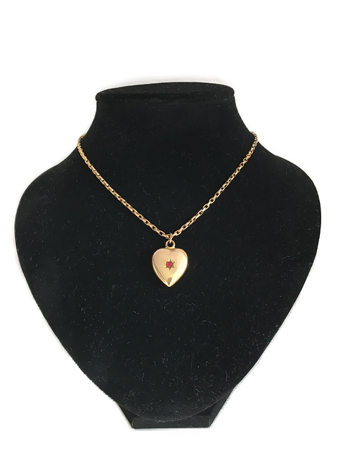 Sweet Gold Plated Heart Pendant on Chain with Central Red Stone