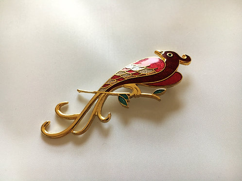 Adorable Modern Enamelled Exotic Bird Brooch