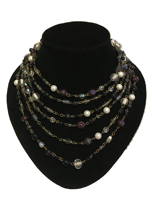 Dramatic Multi-strand Black Clear and Pearl Bead Necklace